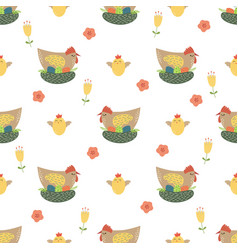 Easter chicken seamless pattern cute chicken eggs vector