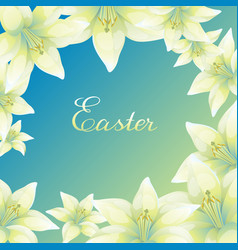 Easter greeting card with lilies vector
