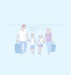 family trip travelling arrival air concept vector image