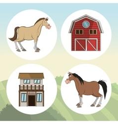 Farm animals cartoons vector image