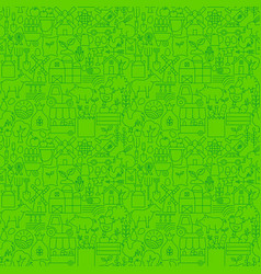 farming green line seamless pattern vector image