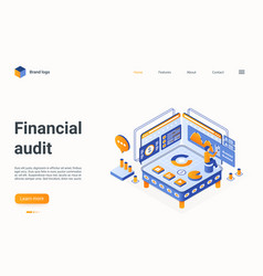 financial audit technology isometric landing page vector image