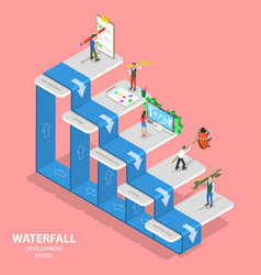 flat isometric concept waterfall vector image