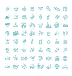 Food courts icons set outline set vector
