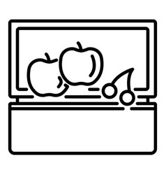 fruit lunchbox icon outline style vector image