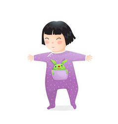 Funny asian kid girl with pocket monster walking vector
