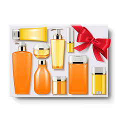 gift box with cosmetics vector image