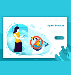 Girl with mobile phone blocking spam vector