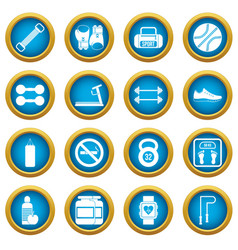 gym icons blue circle set vector image