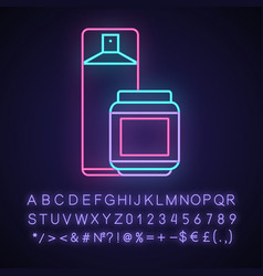 Hairspray and styling gel neon light icon vector