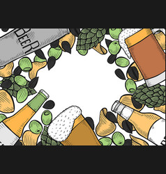 hand drawn beer set vector image