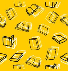 hand drawn black books seamless pattern vector image