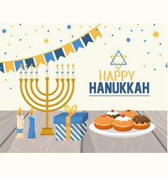 Hanukkah decoration with party flags and candles vector