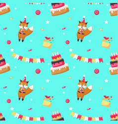 happy birthday seamless pattern with cute vector image