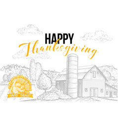 Happy thanksgiving hand drawn banner template vector