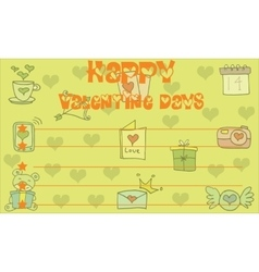 Happy Valentine Day card on yellow background vector