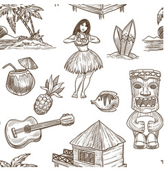 Hawaii travel sketch pattern background vector