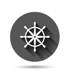Helm wheel icon in flat style navigate steer on vector