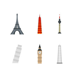 history tower icon set flat style vector image