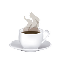 image color with hot cup of coffee serving on dish vector image