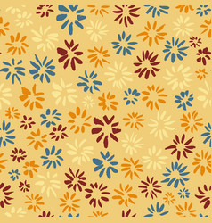 Ink seamless pattern with flowers in sketchy vector