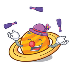 juggling planet saturnus mascot cartoon vector image