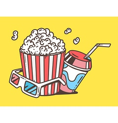 Linear pop corn with juice and anaglyph vector