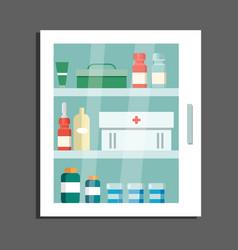 Locker with medications flat vector