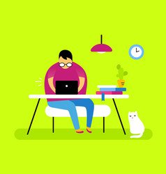 man cat and color front view interior home office vector image