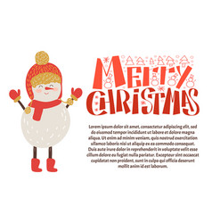 merry christmas postcard snowman in warm hat scarf vector image