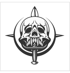 Military skull - chevron with daggers vector