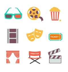 Movie and film icons set Flat style design vector