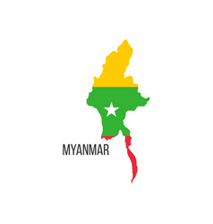 Myanmar flag map the flag country in the vector