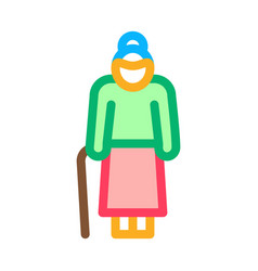 old woman stick icon outline vector image