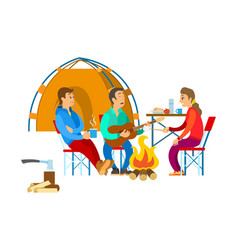 People near bonfire tourism or camping vector