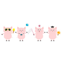 pig piglet set sun glasses icecream bird vector image