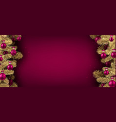 Pink christmas banner with spruce branches vector