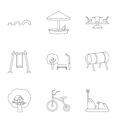 Play garden set icons in outline style Big vector
