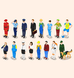 Professions isometric people set vector