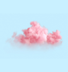 realistic pink fluffy cloud isolated vector image