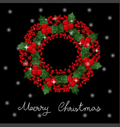 red berry christmas wreath and white snow vector image