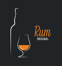 Rum bottle with glass logo on black background vector