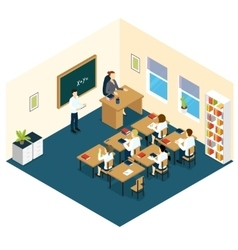 School Classroom Isometric Design vector