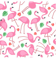 seamless pattern with pictures of pink flamingo vector image