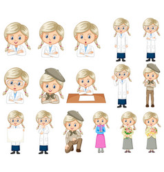 Set cute girl doing different activities on vector