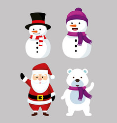 Set nowmen with now bear and santa claus vector