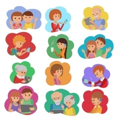 set of people social media vector image
