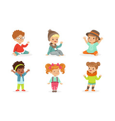 set of pretty toddlers in colorful wears in motion vector image