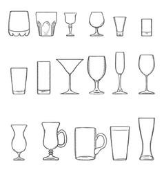 Set sketch stemware glasses for alcohol cocktail vector