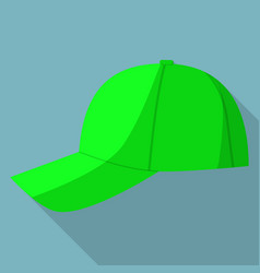 side view of green baseball cap icon flat style vector image